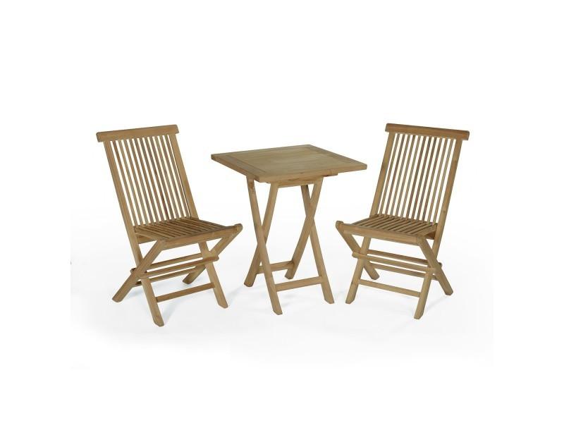 Salon de jardin en teck ecograde sawu, table pliante carrée ...
