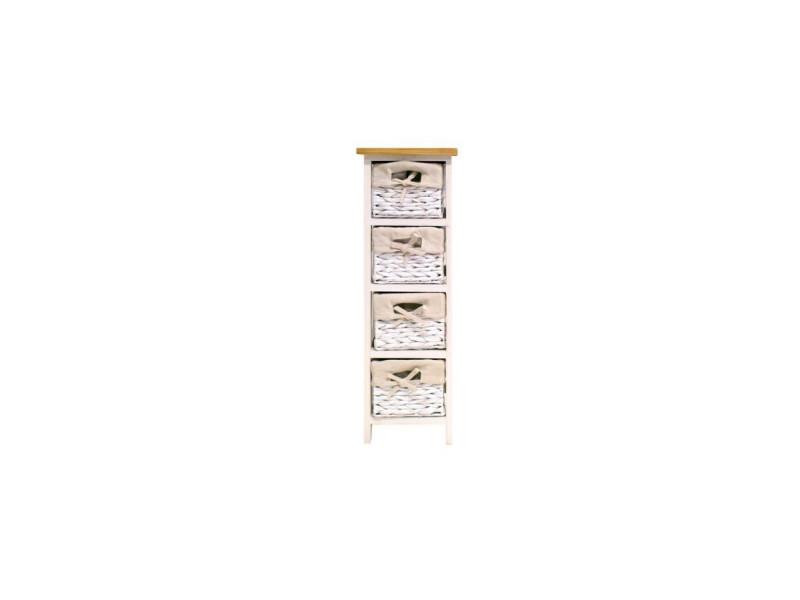 Venezia petit meuble de rangement de salle de bain 24 cm - laqué blanc brillant et bois AUC3304991993172