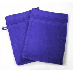 Lot de 2 gants de toilette 15 x 21 cm bleu