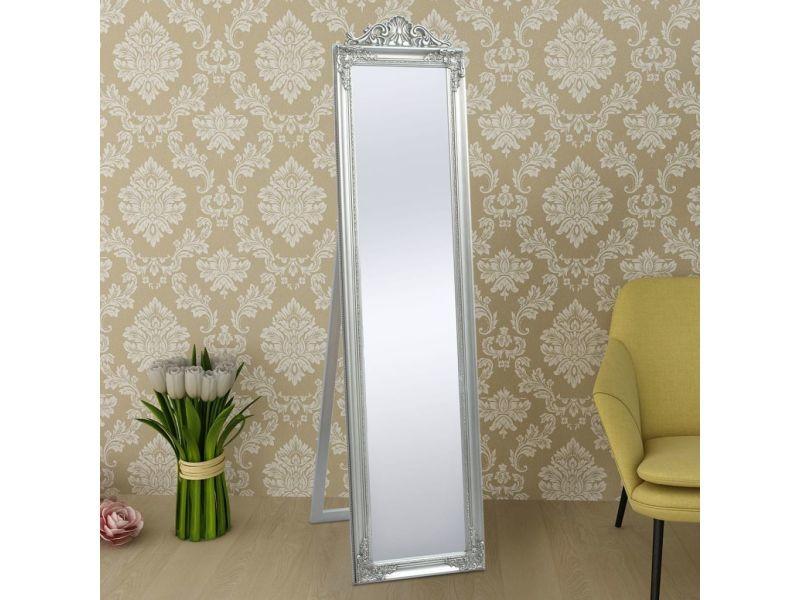 Vidaxl miroir sur pied style baroque 160 x 40 cm argenté ...