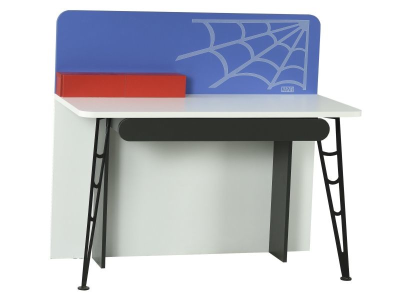 Bureau enfant cm design spiderman marvel coloris bleu blanc