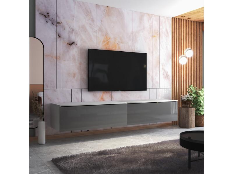 Meuble tv - skylara - 200 cm - blanc mat / gris brillant