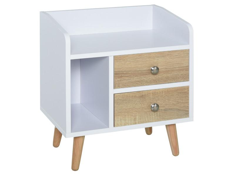Chevet table de nuit design scandinave 2 tiroirs niche plateau pieds effilés inclinés bois massif chêne clair blanc