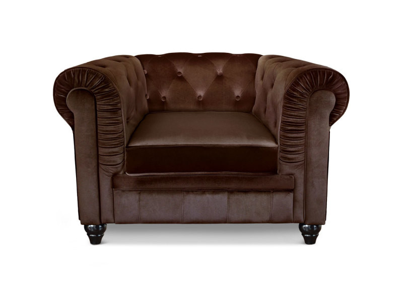 Grand fauteuil chesterfield velours marron
