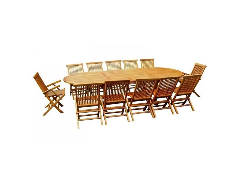 Lubok: salon de jardin teck huilé 12/14 pers - table ovale 120 cm + ...