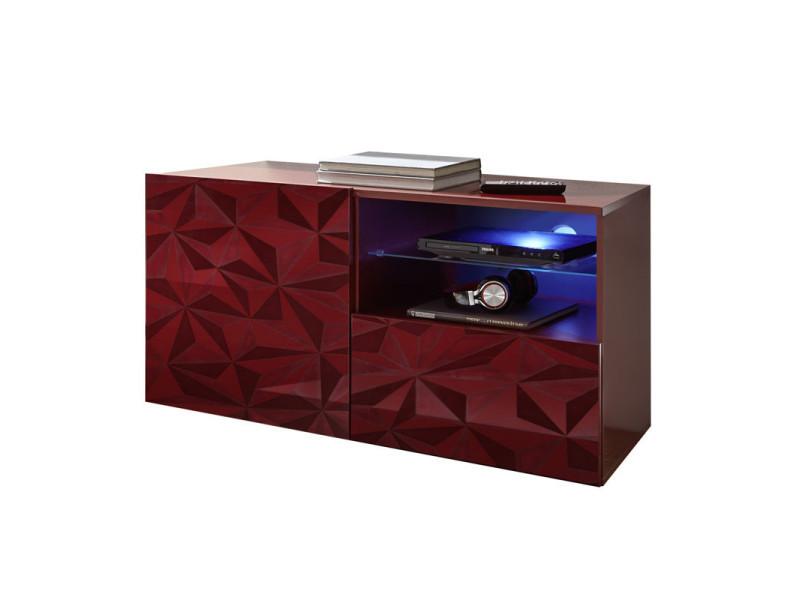 Meuble tv 1 porte 1 tiroir laqué rouge brillant à leds - kioo - l 122 x l 42 x h 57 - neuf