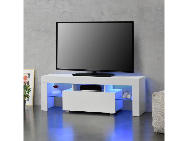 Meuble tv avec éclairage led multicolore banc support design avec étagères de verre et tiroir panneaux de particules mélaminés 130 x 35 x 45 cm blanc [en.casa]