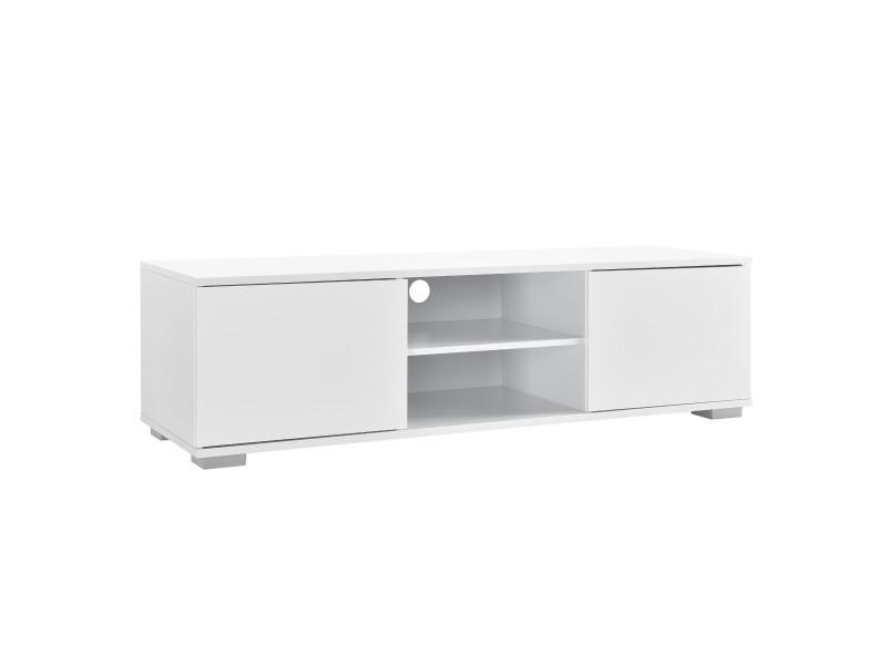 En.casa meuble tv avec compartiments et portes buffets bas téléviseur armoire bas 34,5cm x 120cm x 40cm mdf blanc
