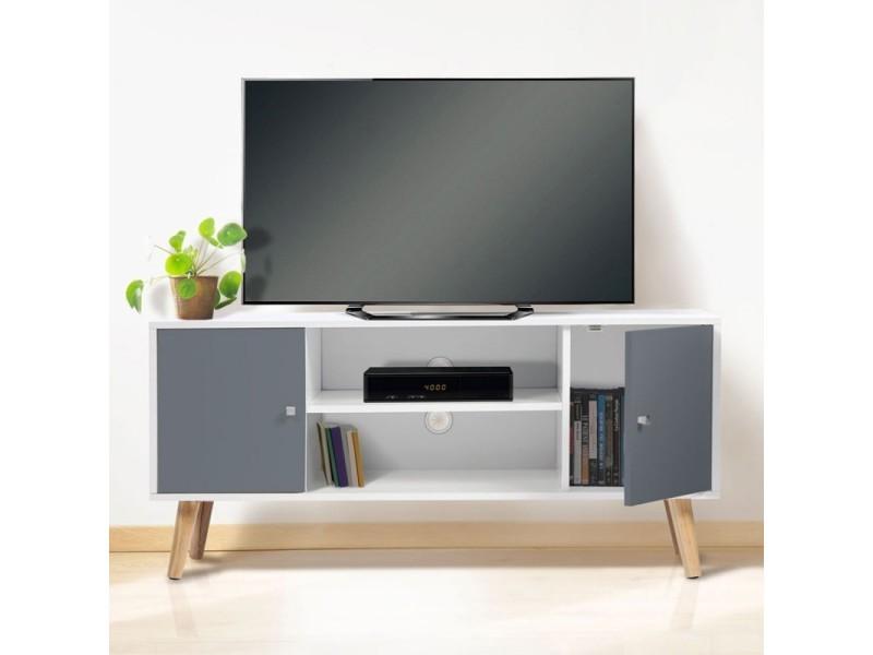 meuble tv effie scandinave 2 portes bois blanc et gris. Black Bedroom Furniture Sets. Home Design Ideas