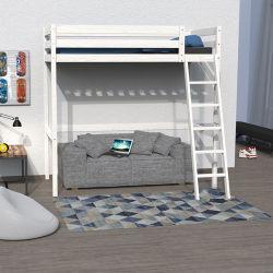 Lit mezzanine studio 90x190 + 1 sommier / blanchi
