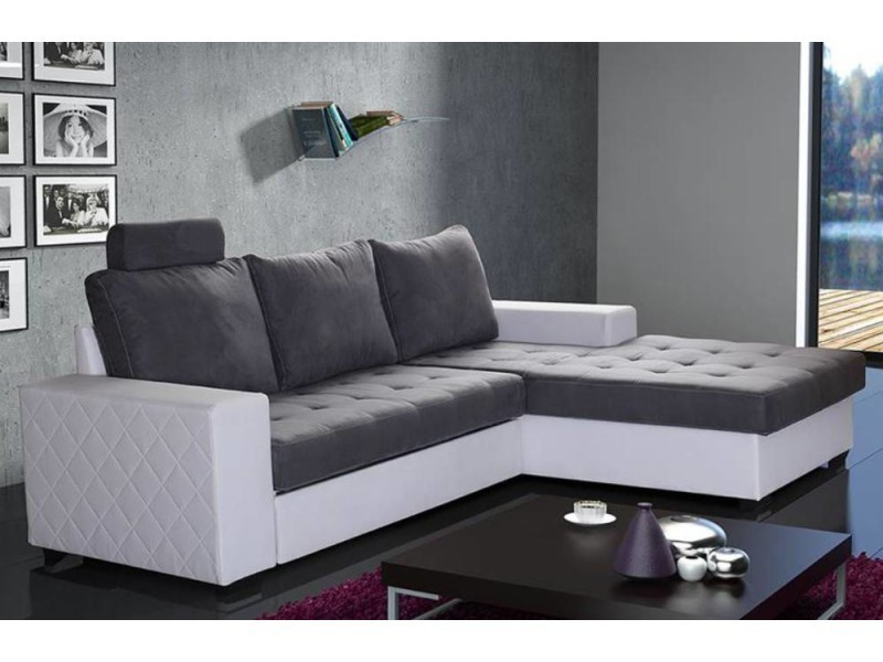 canap d 39 angle gigogne convertible rapido waterford 140cm gris et blanc 20100861458 vente de. Black Bedroom Furniture Sets. Home Design Ideas