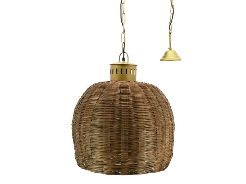 Suspension en bambou teinté et métal doré diamètre 43 cm
