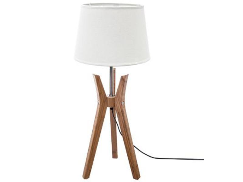 Lampe à poser trépied en bambou et fer coloris naturel et blanc - dim : d 28 x h 65 cm - pegane -