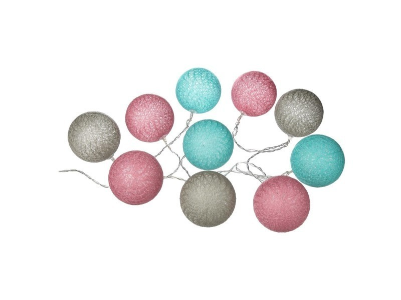 Guirlande lumineuse gris rose bleu 10 boules led à piles