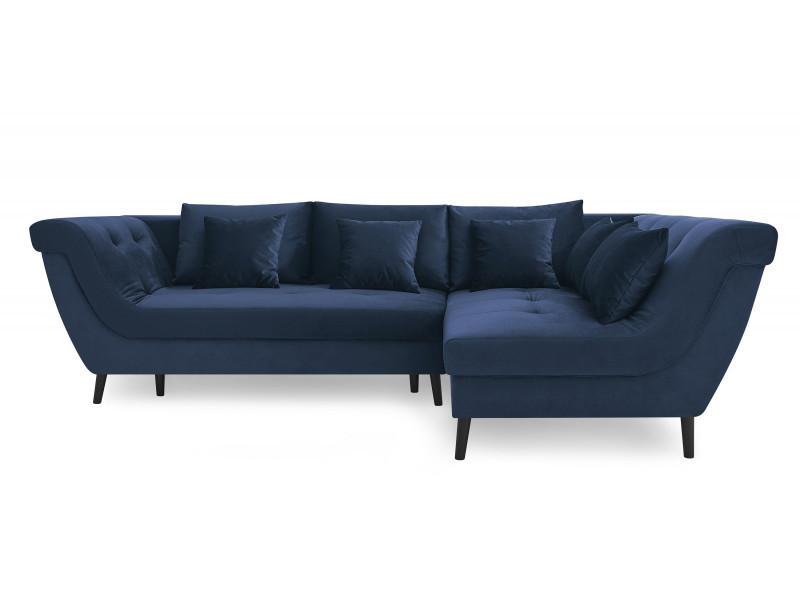 Canapé d'angle convertible real bleu marine angle droit