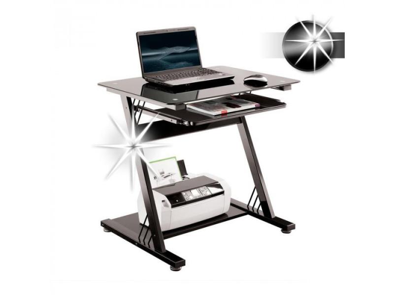 Bureau informatique en verre noir brillant vente de bureau
