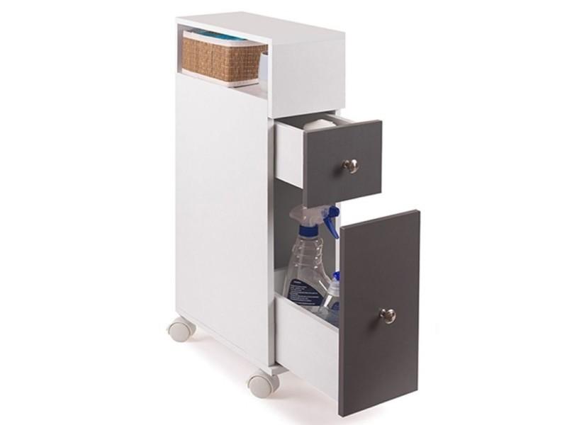 meuble rangement wc sur roulettes 2 tiroirs gris vente de id market conforama. Black Bedroom Furniture Sets. Home Design Ideas