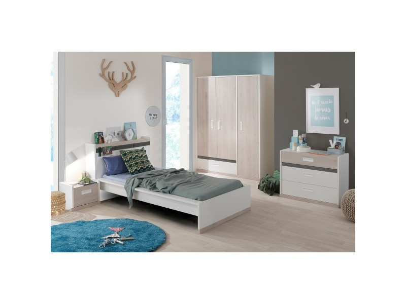 Chambre enfant blanche et effet pin blanchi 90x200 cb5007 - Vente de ...
