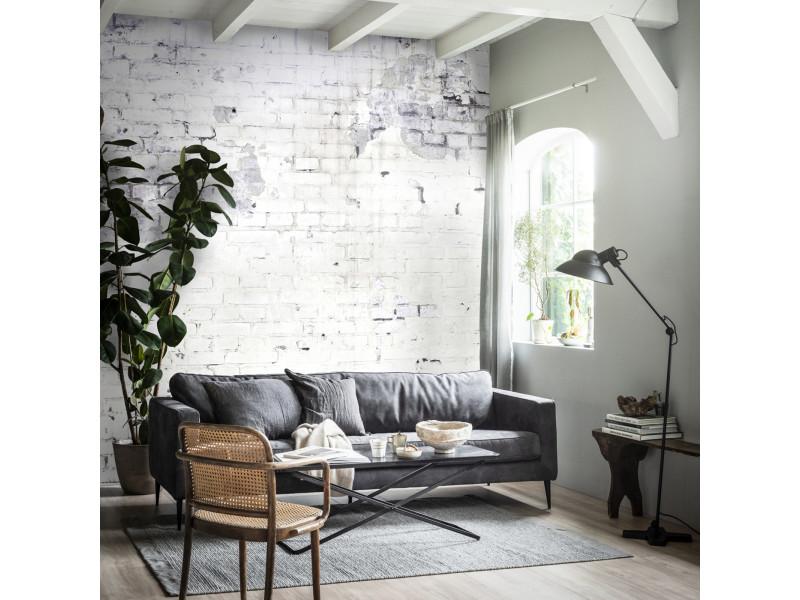 Papier peint panoramique intissé mur briques loft 300 x 300cm blanc 89353