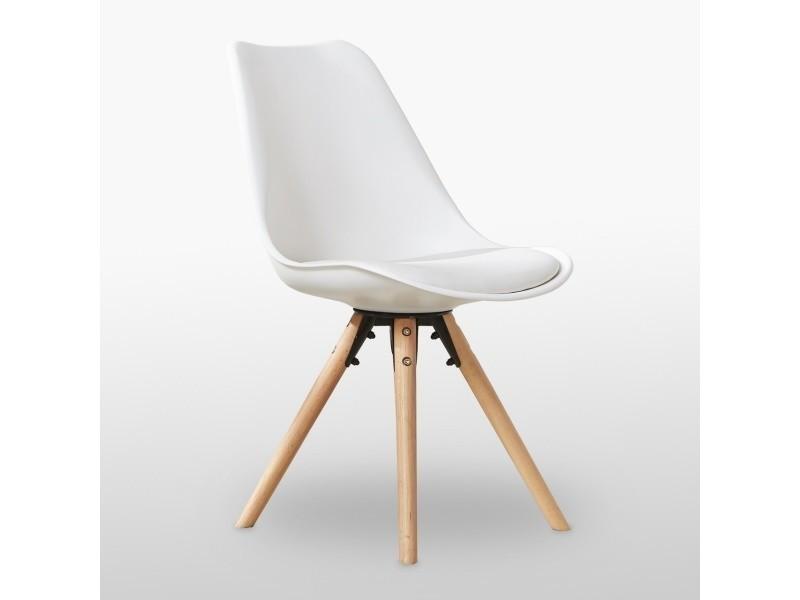 Chaise scandinave blanche sophie rembourrée
