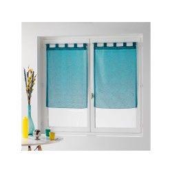 Une paire de rideau voilage 60 x 90 cm coupe dandy bleu turquoise