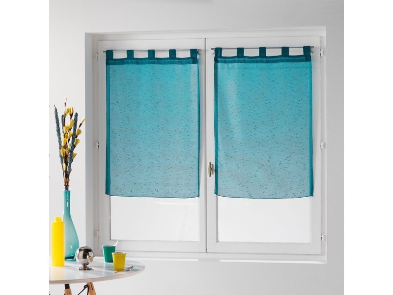 une paire de rideau voilage 60 x 90 cm coupe dandy bleu. Black Bedroom Furniture Sets. Home Design Ideas