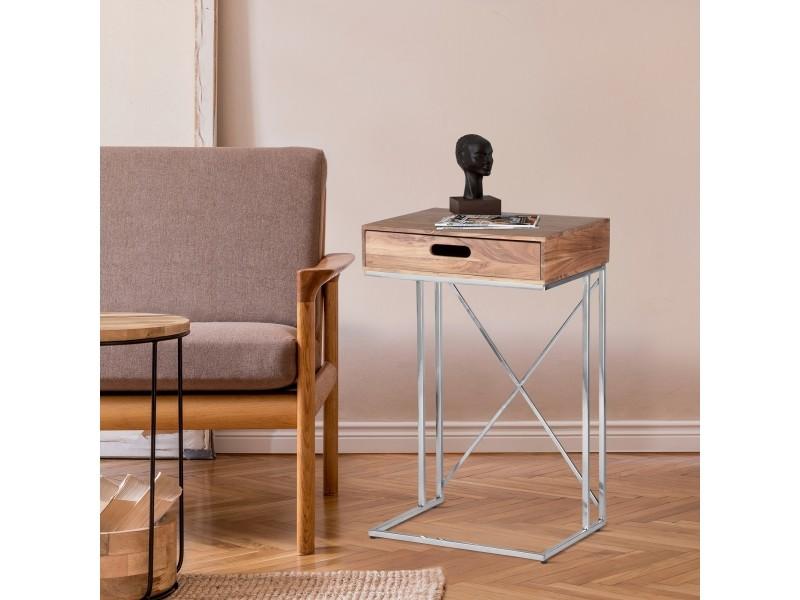 Table d'appoint womo-design avec tiroir naturel/argenté, 45x35x76 cm, bois de manguier massif et acier inoxydable 390003276