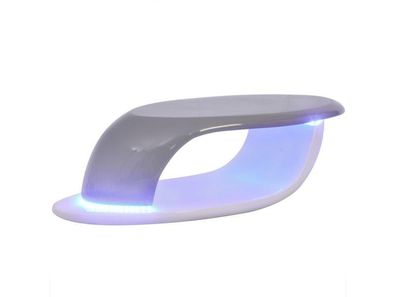 Vidaxl table basse avec bande led fibre de verre blanc et gris 242775