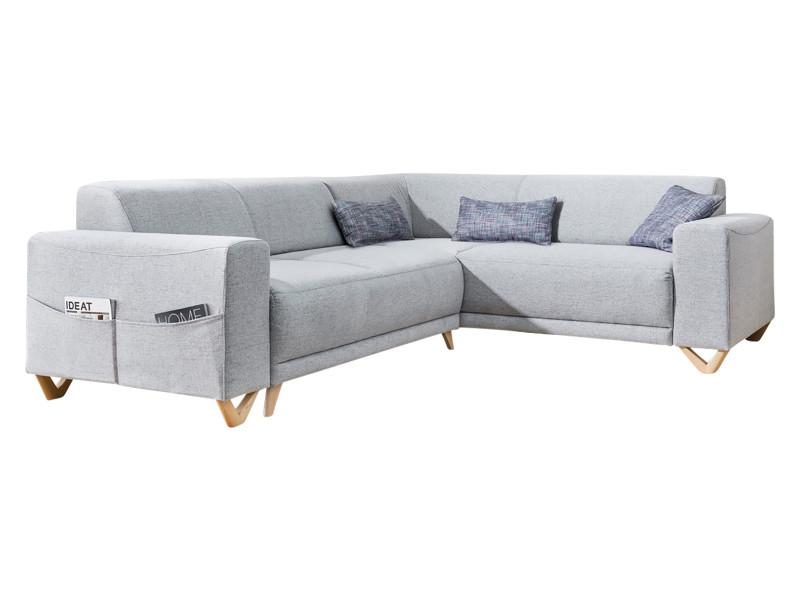 Canapé d'angle panoramique convertible coffre bella gris clair angle droit