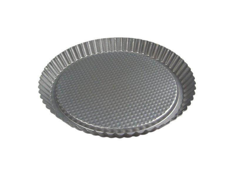 Moule à tarte 28 cm acier anti adhèrent fond fixe