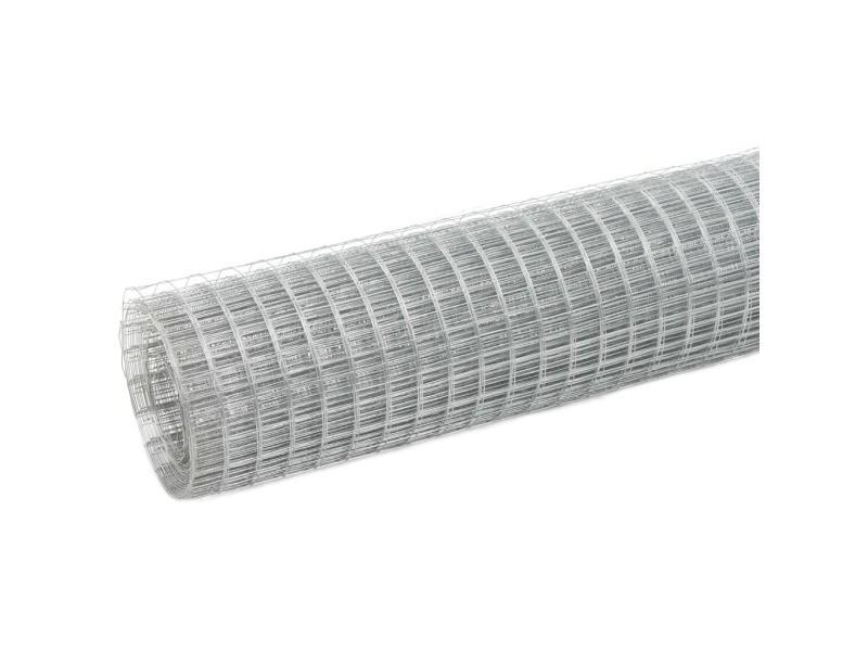 Vidaxl grillage pour volière acier galvanisé 10x0,5 m argenté 143611