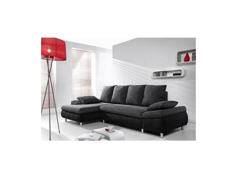 Canapé d'angle convertible milo tissu noir angle gauche TENDENCIO