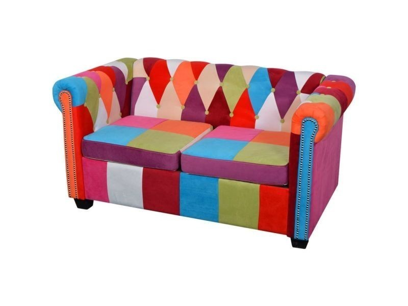 vidaxl canap chesterfield 2 places tissu 243180 vente de vidaxl conforama. Black Bedroom Furniture Sets. Home Design Ideas