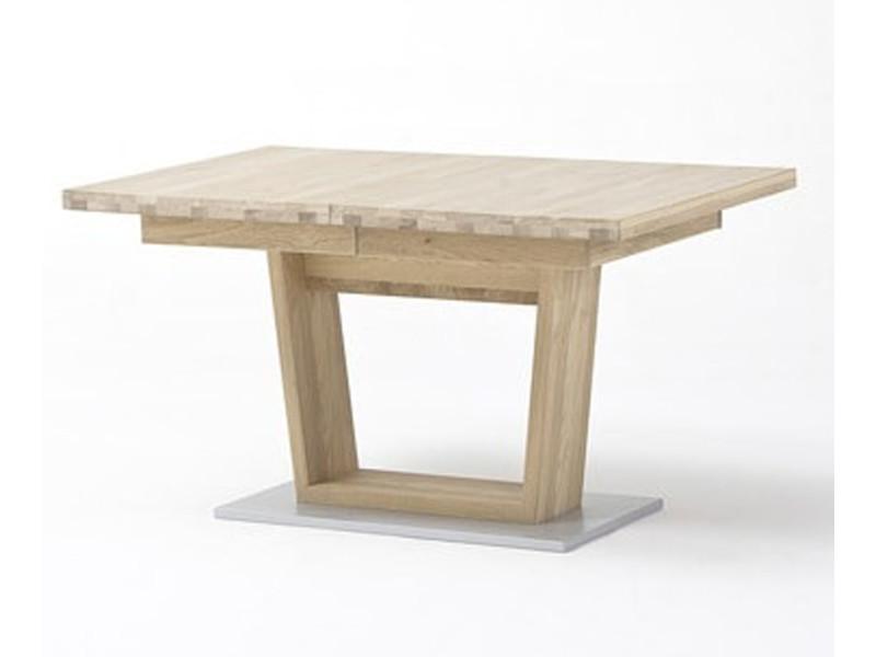 Table à manger extensible en bois finiton chêne blanchi - l.140-220 x h.77 x p.90 cm -pegane- PEGANE
