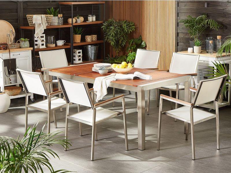 Table de jardin plateau bois eucalyptus 180 cm et 6 chaises blanches grosseto 197104