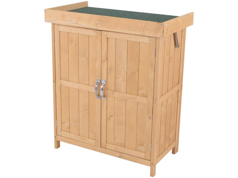 Armoire de jardin sur pied double porte étagère et toit bitumé relevable dim. 74l x 43l x 88h cm bois massif de pin