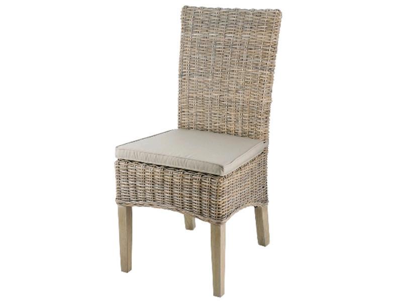Chaise en rotin coloris taupe - dim : l 48 x p 57 x ht 105 x ht ass 46 cm - pegane -