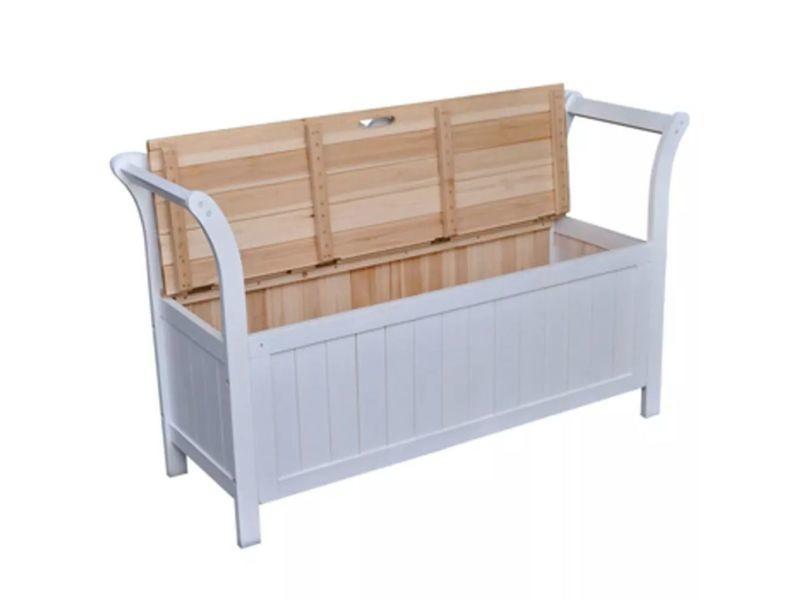 Icaverne - bancs coffres gamme banc de rangement 126x42x75 cm bois blanc