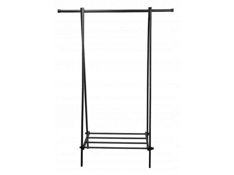 Mstore - portant vêtements armoire penderie + armoire à chaussures couloir/chambre/dressing - 150x107x43,5 cm - en acier - noir