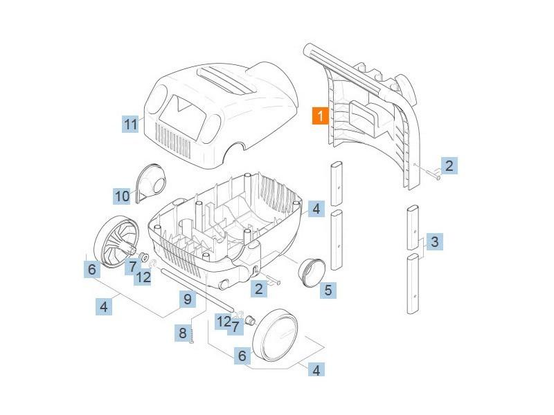 Poignee chariot de transport rep 1 pour nettoyeur haute-pression karcher - 90361740