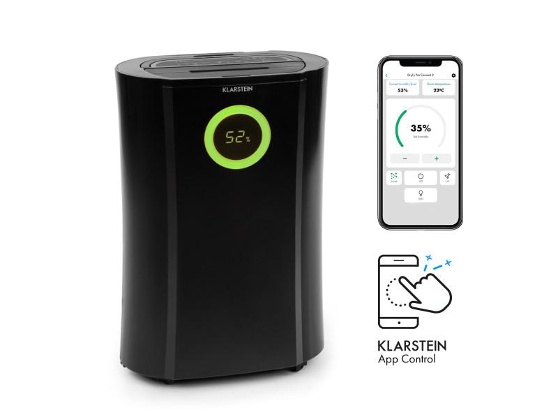 Klarstein dryfy connect 20 déshumidificateur d'air avec connexion wifi - compression 20l/24h - puissance 370w - pour 20m² - noir DXJ6-DryFyProConnect