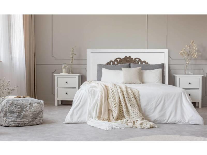 Tête de lit venezia 140cm bois blanc et marron