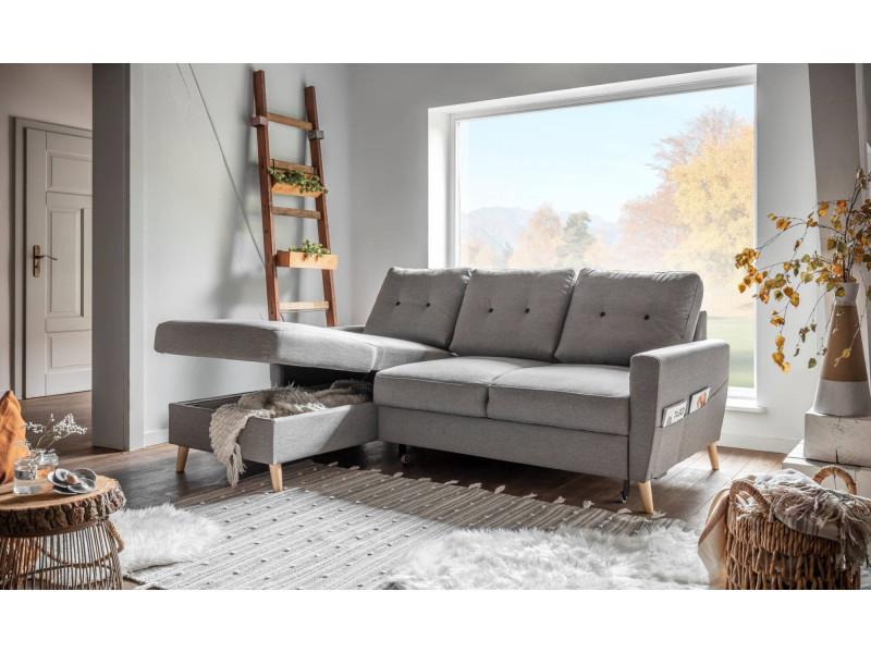oslo canap d 39 angle gauche convertible gris clair 225x147x86cm vente de bobochic. Black Bedroom Furniture Sets. Home Design Ideas