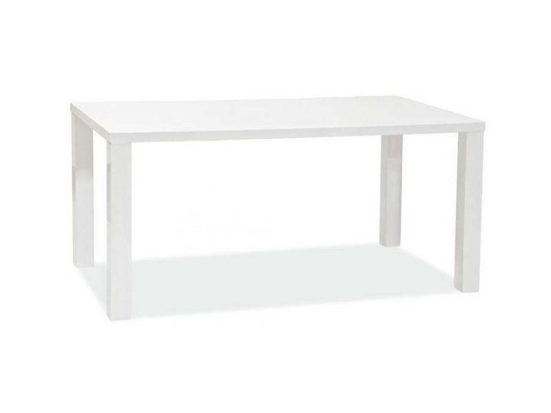 Montega - table élégante de style minimaliste - dimensions : 120x80x75 cm - plateau et piètement en mdf laqué - blanc