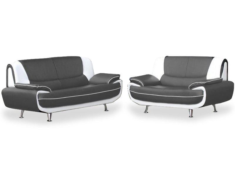 Ensemble canapé 3+2 places palermos bicolore simili gris et blanc