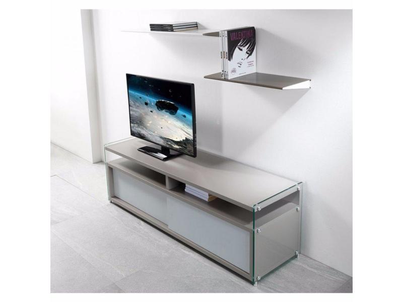 Meuble tv talac gris mat 2 portes coulissantes blanc mat 20100853483