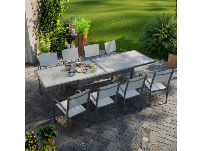 Table de jardin extensible aluminium 270cm + 8 fauteuils empilables textilène anthracite gris - lio 8
