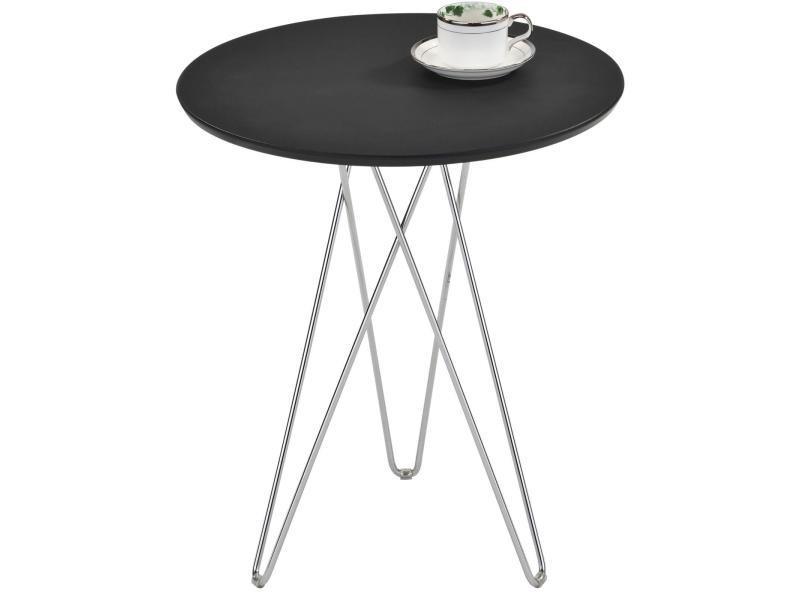Table d'appoint benno table à café table basse ronde bout de canapé design retro vintage pieds épingle en métal chromé, décor noir