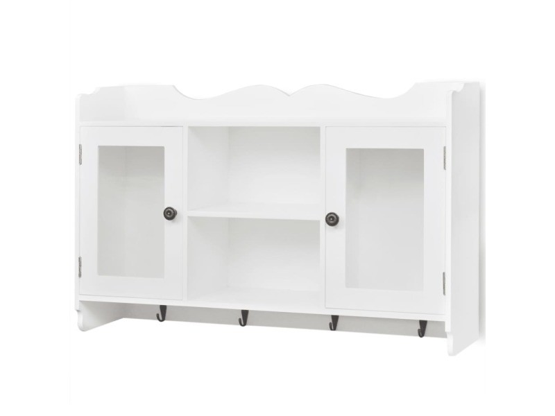 vidaxl vitrine murale avec tag re de livre dvd verre en mdf blanc 242435 vente de vidaxl. Black Bedroom Furniture Sets. Home Design Ideas