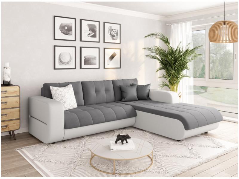 Canapé d'angle suzie convertible en simili et microfibre - angle droit, blanc / gris CELIAPUBLCMFGRCD